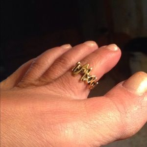 Jewelry - Gold plated lightening bolt toe or pinky ring